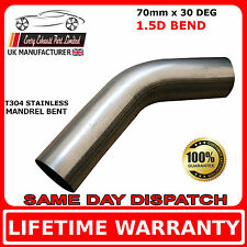 70mm x 30 Degree Mandrel Exhaust Bend T304 Stainless Steel 1.5D 1.5mm Wall