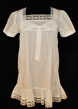 Mystree Victorian White Ruffle Lace Sheer BABY DOLL Smock BLOUSE TOP SHIRT S/M