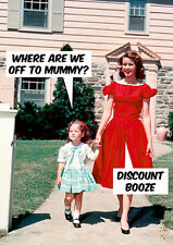 'DISCOUNT BOOZE' Funny Retro Greetings Card -Blank Inside- Birthday/Mothers Day
