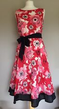 Per Una Ladies Day Dress Red Pink Flowers Navy Size 12R