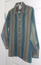 NOS 50s-60s JERRY LEE LEWIS! DONGAL Earth Tone Stripes Loop Collar Long Sleeve M