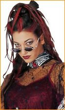 Ladies Black Red Gothic Vampiress Black Widow Witch Halloween Fancy Dress Wig