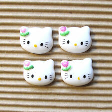 "20 pcs x 5/8"" Resin Cat Flatback w/Flower Bow for Hello Kitty Craft SB51C"