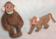 Vintage Handwork Kunstlerschutz West Germany Flocked MONKEY Figurines
