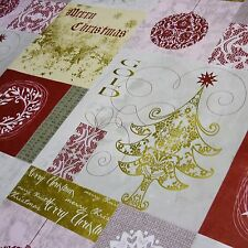 "Patchwork ""Merry Christmas"" Tree & Bauble Printed Tablecloth PVC *Per Metre"