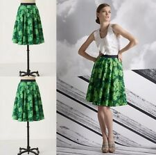 RARE Anthropologie Edme & Esyllte Green Thumb Floral Aline Swing Skirt Size 0/XS
