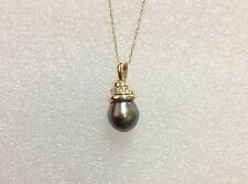 14k Solid Yellow Gold Diamond Accented Spiral 10 mm Tahitian Black Pearl Pendant