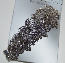 NEW 10cm Silver vintage crystal flower barrette clip wedding hair accessory