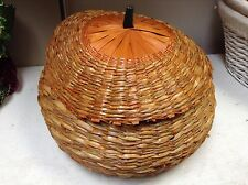 Large Wicker seagrass Pumpkin Basket & Lid Autumn Harvest Fall Thanksgiving