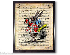 RABBIT PLAYING TRUMPET 10 x 8 ART PRINT dictionary alice in wonderland bos