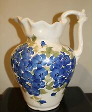 "Cash Family Pottery Blue Floral 11"" Pitcher with Matching Basin, Dated 1945"