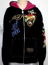 Ed Hardy Surf Or Die Save Our Beaches Surf Mob Pray For Surf Hoodie Size XL EUC