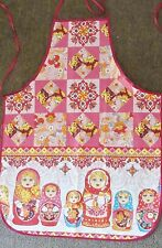 Russian kitchen apron with nesting dolls design red color made Ivanovo city