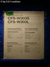 Sony Bedienungsanleitung CFS W303S / L Cassette Corder (#0197)