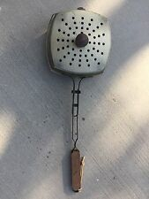 Old Vintage Metal Outdoor Fireplace Camping Popcorn Popper Wooden Handle w/ Lid