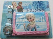 Nouveau Disney Elsa, Anna Frozen princesses montre à quartz et portefeuille set for girls