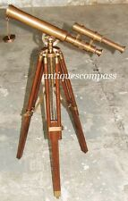 "Collectible Brown Antique Finish Nautical Brass Telescope 14""  Wood Tripod Stand"