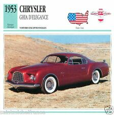CHRYSLER GHIA D'ELEGANCE 1953 CAR VOITURE UNITED STATES CARTE CARD FICHE