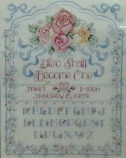 Wedding Sampler Pink Flowers Counted Cross Stitch Kit Two Shall Become One