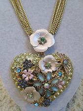 NWT Auth Betsey Johnson Queen Bee Large Floral Heart Statement Pendant Necklace