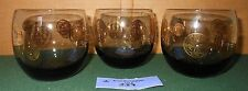 3 Vintage Smoke Gray Glass Gold Coin Roly Poly Cocktail Barware Retro 1970s