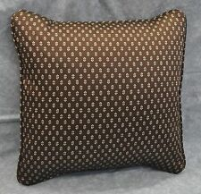 Pillow made w Ralph Lauren Modern Driver Brown Foulard Fabric trim self cording