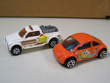 LOT OF 2 MATCHBOX SPONGEBOB DIECAST CARS VOLKSWAGEN VW BEETLE CONSTRUCTION TRUCK