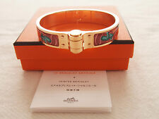 Authentic Hermes enamel hinged bracelet Brides de Gala print with rose gold PM