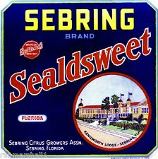 Sebring Florida Sealdsweet Lodge Orange Citrus Fruit Crate Label Art Print
