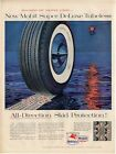 1957 Mobilgas Whitewall Super Deluxe Tires PRINT AD