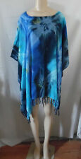 TURQUOISE BLUE BLACK TIE DYE BEACH COVER UP PONCHO TOP TUNIC BLOUSE #21