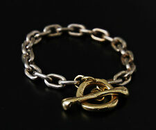 RARE ROBERT LEE MORRIS COUTURE 18K YELLOW GOLD 925 SILVER HEAVY TOGGLE BRACELET