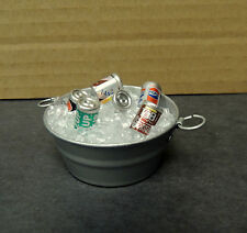 BUCKET WITH ICE, SODA CANS  READY TO DISLAY DOLLHOUSE DIORAMA 1:12 SCALE
