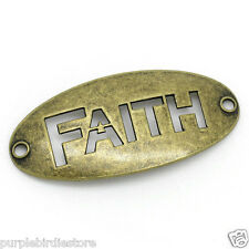 Bronze FAITH Connector Word Cut-Out Charms 47mm 2 Pieces, Inspirational Words