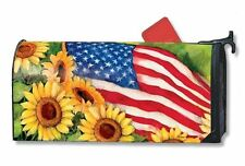 Magnet Works Mailwraps American Sunflowers Flag Magnetic Mailbox Wrap Cover