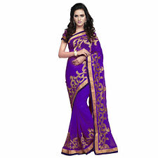 Indian Party Wear Designer Purple Faux Chiffon Zari Embroidered Border Saree