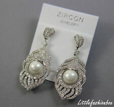 Cubic Zirconia Cluster Shell Pearl Feather Drop Wedding Earring UK New
