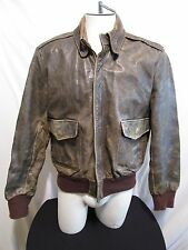 VTG Banana Republic Brown Distressed Leather Aviator Bomber Jacket Mens 42 Med.