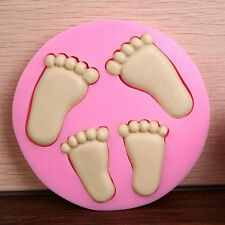 Baby Feet Silicone Fondant Mould Chocolate Sugarcraft Cake Clay Mold Baking DIY
