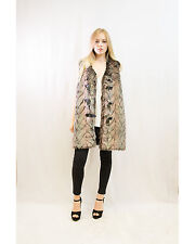 Lady soft faux fur belt fasten long oversize gilet coat jacket brown grey white