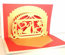 3D PopUp Couple Chariot Valentine Greeting Card Handmade Best Gift Husband Wife