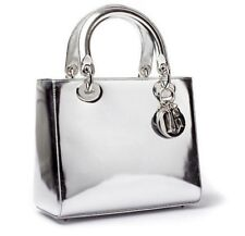 LADY DIOR Medium Bag in Mirror Argent Chrome Silver Leather (Sold out Very Rare)