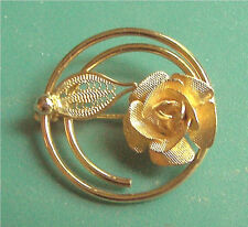 "Gold Tone Rose Pin ""PROMISE""  Sarah Coventry Jewelry -Sarah Cov - Vtg"