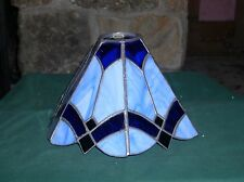 "Slag Glass 2 Tone Blue Lamp Shade Octagon 7 1/2"" Tall GD COND"