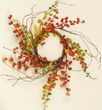 BITTERSWEET BERRIES BABY GRASS WREATH Candle Twig Floral Primitive Country