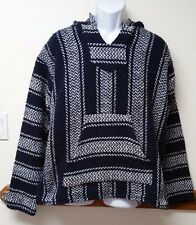 Baja Joe Pullover Hoodie Hooded Small Blue And White Surfer Mexican Serape Style