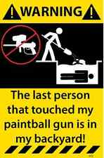 Paintball gun Warning Sticker Stick Figure Funny Decal Humourous sports 72