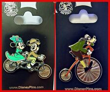 Disney Parks 2 Pin Lot Mickey & Minnie Mouse + Goofy riding Bike