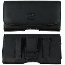 Leather Belt Clip Case Holster for BlackBerry Q10 fits WITH OTTERBOX DEFENDER ON