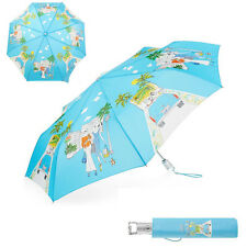 New TOTES Fashionista In Los Angeles Auto Open Rain Sun Umbrella 42-48in Blue